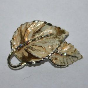 Vintage BSK tan leaf brooch